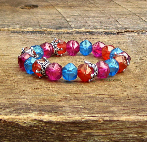 As Seen on Bella and the Bulldogs Crown Bracelet with Czech Glass Beads
