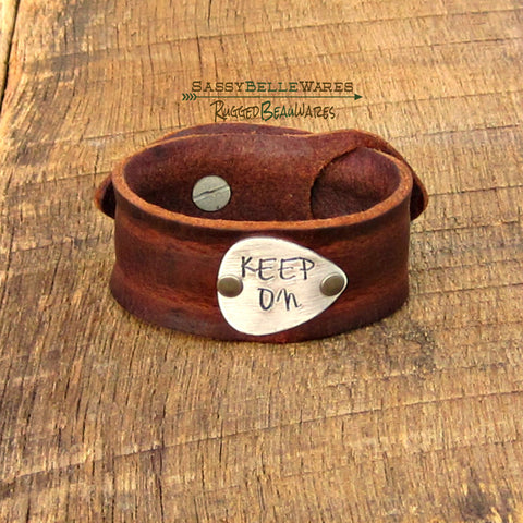 Custom Guitar Pick Leather Cuff Bracelet