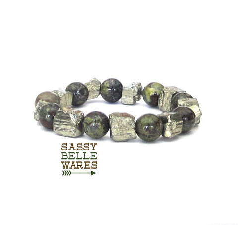 As Seen on Jane the Virgin Pyrite and Dragons Blood Jasper Bracelet