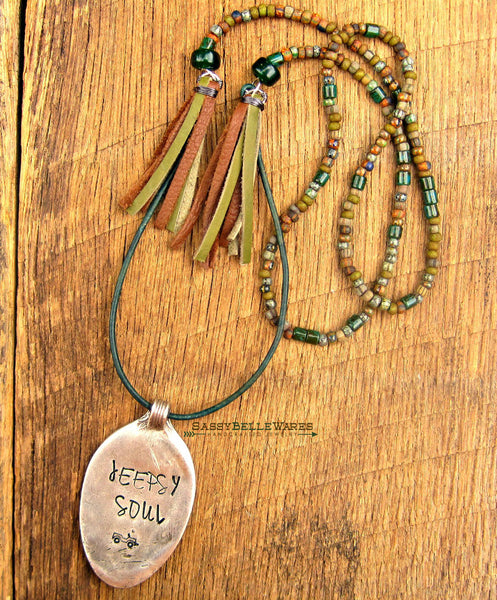 Jeepsy Soul Leather and Bead Necklace with Tassels