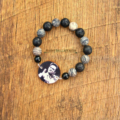 Country Music Legend Bracelet Black Silk Jasper and Lava Rock