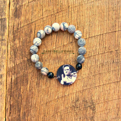 Country Music Legend Bracelet Black Silk Jasper