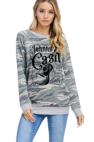 Johnny Cash Camo Sweatshirt Man In Black