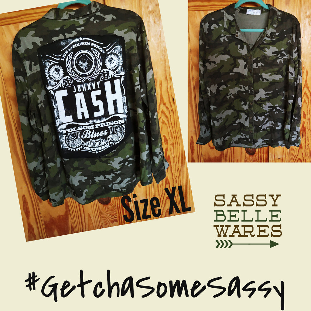 Camo Womens Long Sleeve Tee Patch Shirt - Johnny Cash Folsom Prison