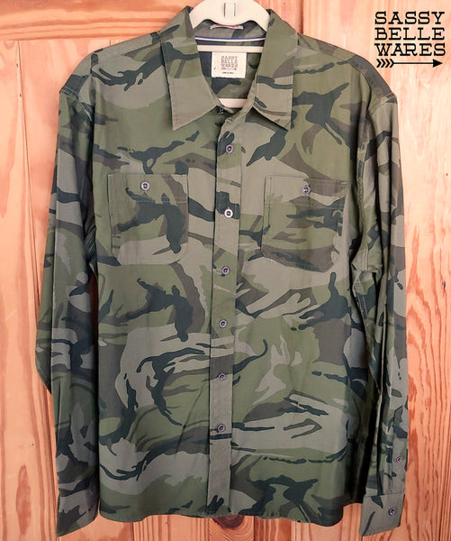 Camo Long Sleeve Tee Patch Shirt - Johnny Cash Middle Finger