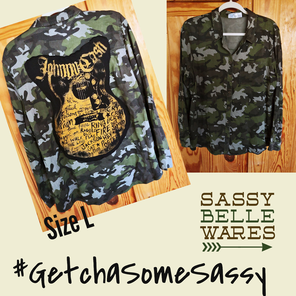Camo Womens Long Sleeve Tee Patch Shirt - Johnny Cash Songs