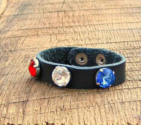 Red White and Blue Swarovski Crystal Black Leather Bracelet thin band