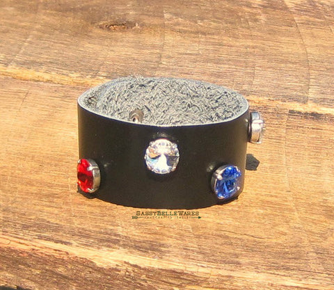 Red White and Blue Swarovski Crystal Black Leather Bracelet