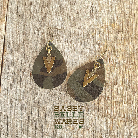 Leather Teardrop Earrings Dark Camo with Antique Bronze Arrowhead