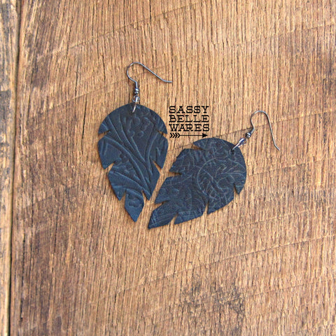 Leather Leaf Earrings Black Textured