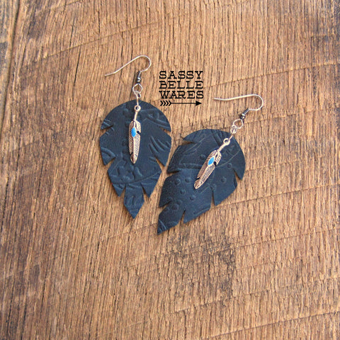 Leather Leaf Earrings Black Textured with Silver and Turquoise Feather