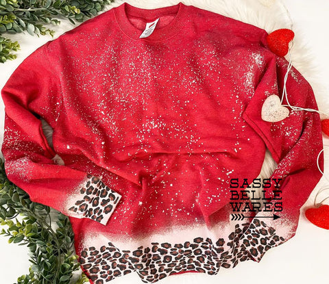 Spotty Leopard Sweatshirt - Red - PRE ORDER