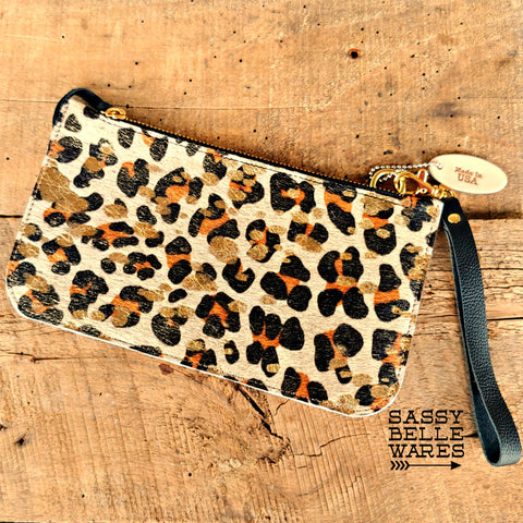 Leather Wristlet - Leopard Print and Gold
