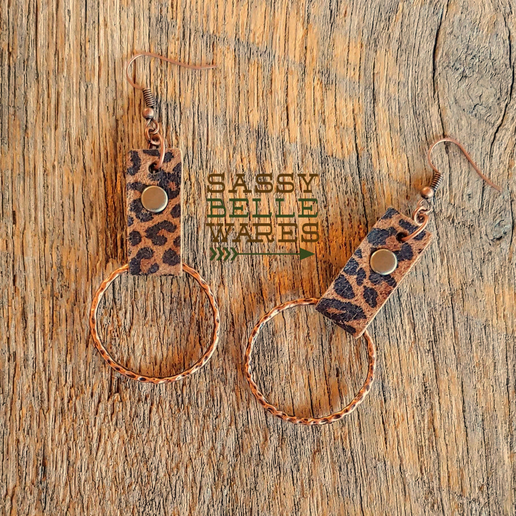 Hoop Earrings Copper with Leopard Print Leather