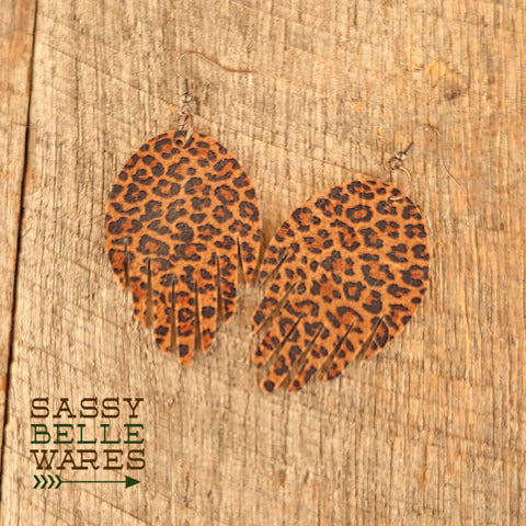 Leather Fringed Earrings Leopard Print