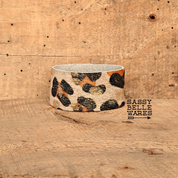 Leather Cuff Bracelet Leopard Print and Gold
