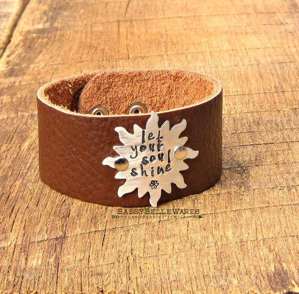 Let Your Soul Shine Sun Leather Bracelet