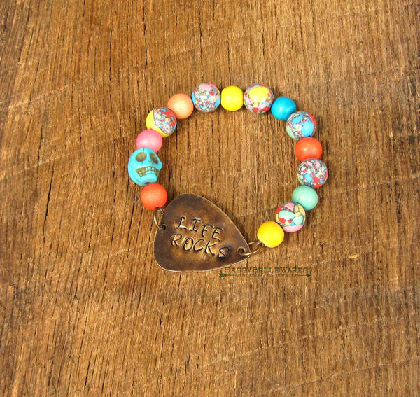 Life Rocks Guitar Pick and Skull Bracelet