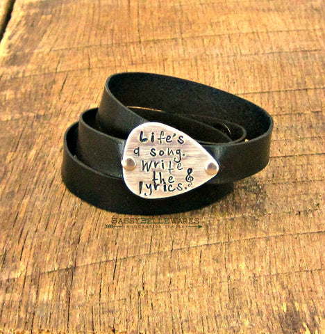 Life's a Song Write the Lyrics Guitar Pick Leather Wrap Bracelet