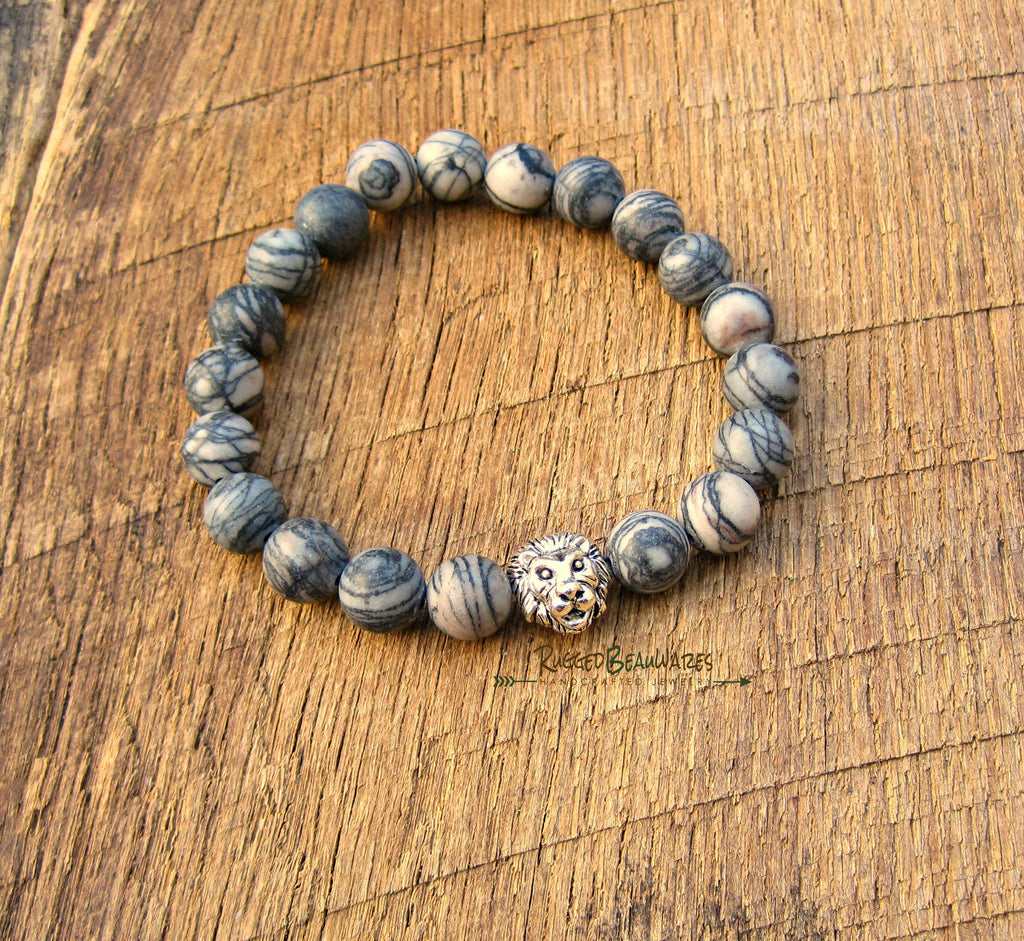 Mens Lion Head Bracelet Antique Silver
