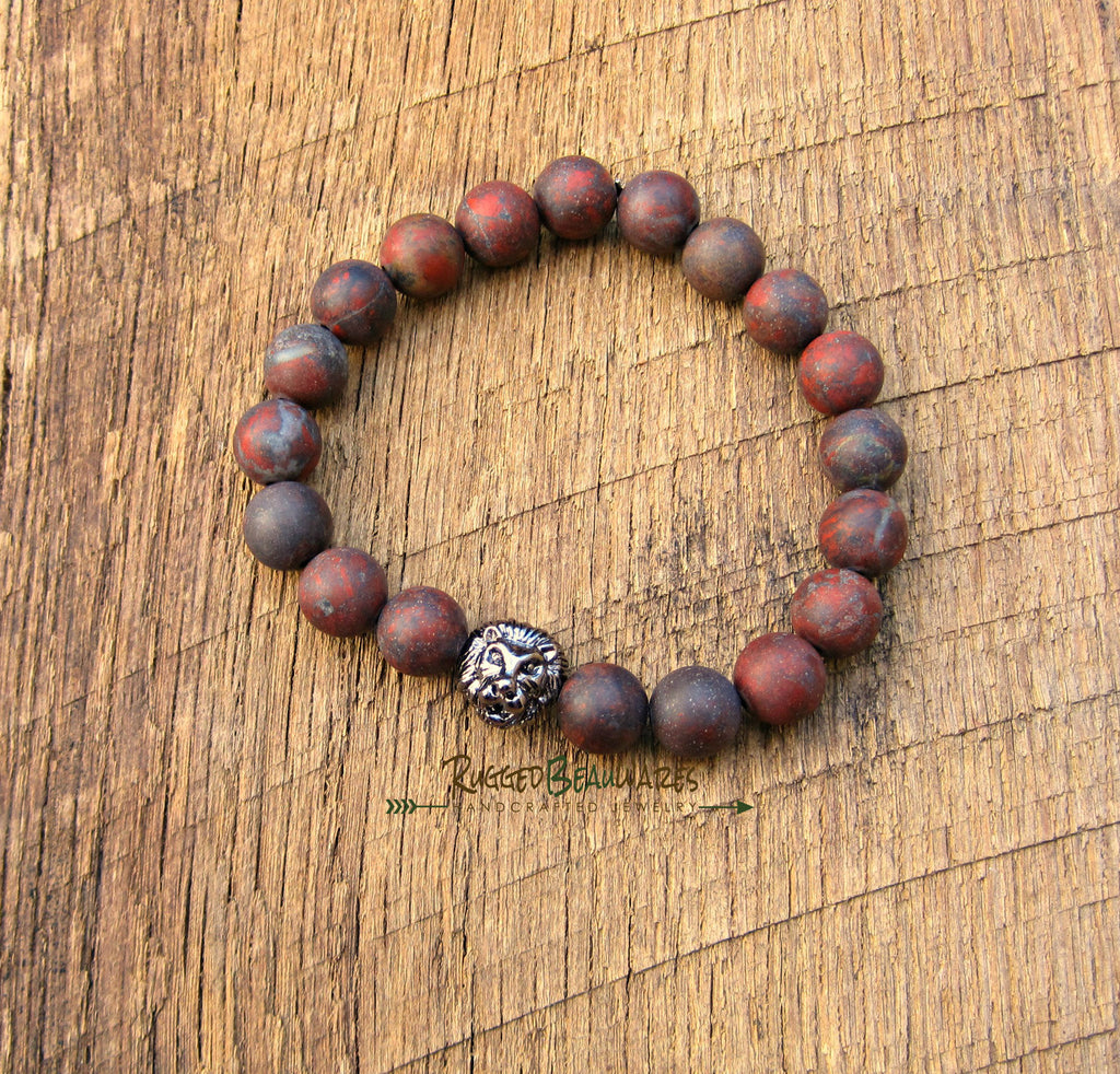 Mens Lion Head Bracelet Gunmetal