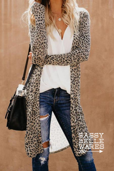Long Cardigan - Camo or Leopard Print