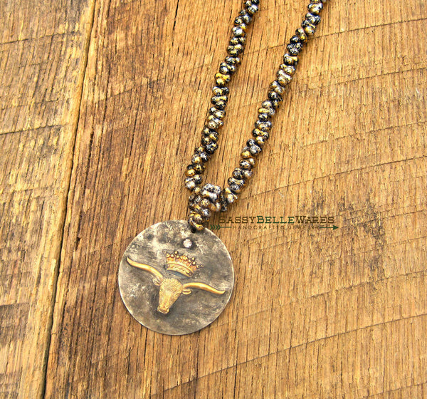 Rustic Longhorn with Crown and Rhinestone Necklace
