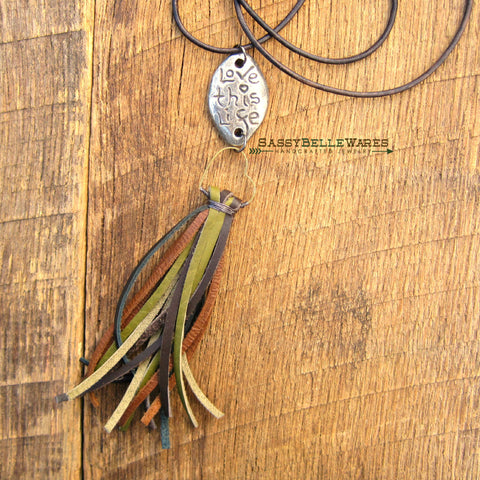 Love This Life Heart and Camo Leather Tassel Necklace