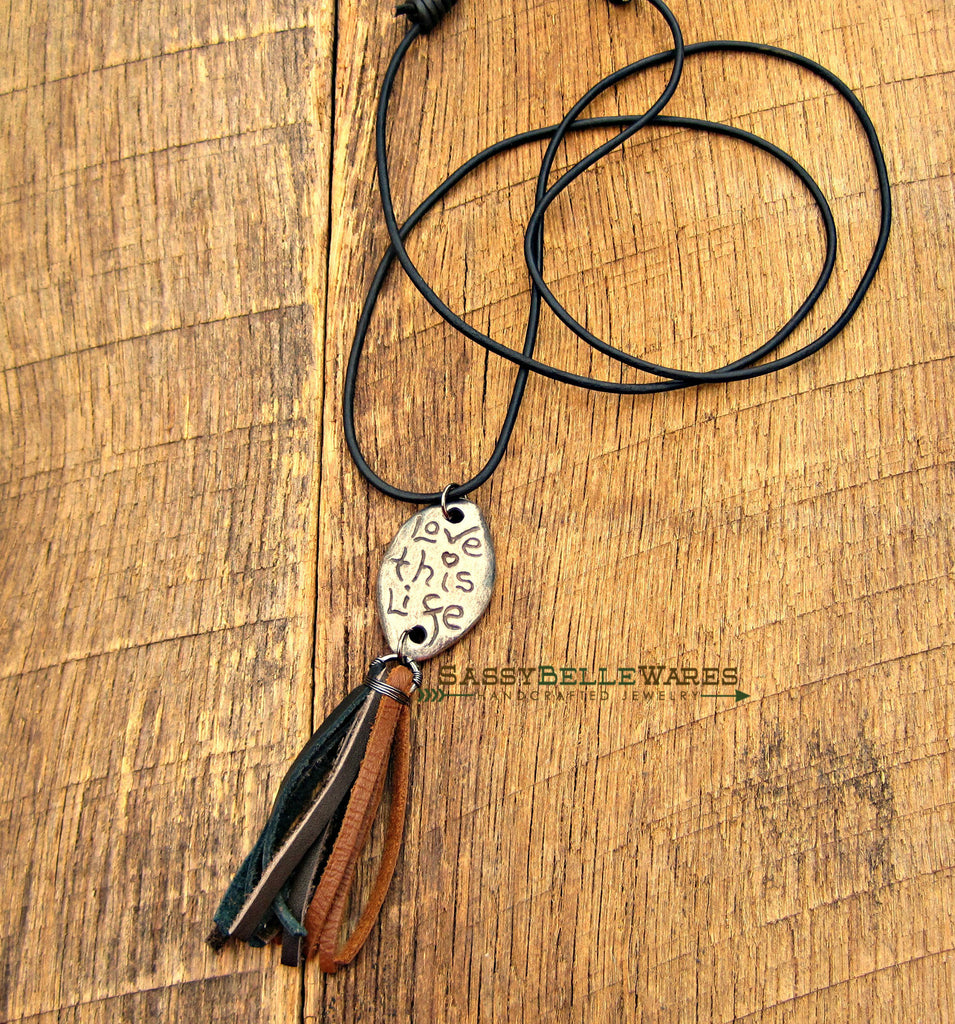 Love This Life Leather Tassel Necklace