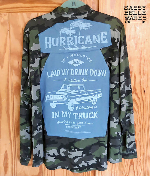 Camo Long Sleeve Tee Patch Shirt - Luke Combs Hurricane - Womens Extra Large XL