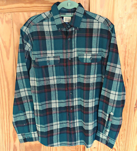Teal Plaid Flannel Long Sleeve Tee Patch Shirt - Luke Combs Pinup Girl