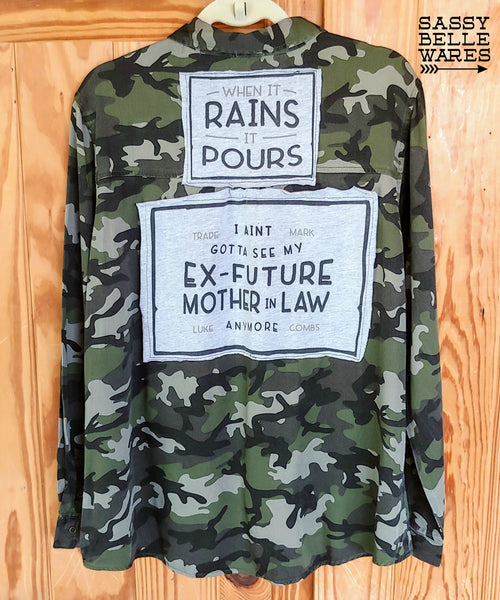 Camo Long Sleeve Tee Patch Shirt - Luke Combs When It Rains It Pours - Womens Extra Large XL