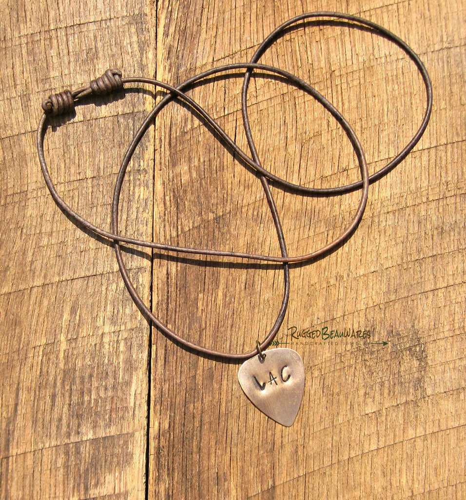 Mens Guitar Pick Brown Leather Necklace Personalized with Initials