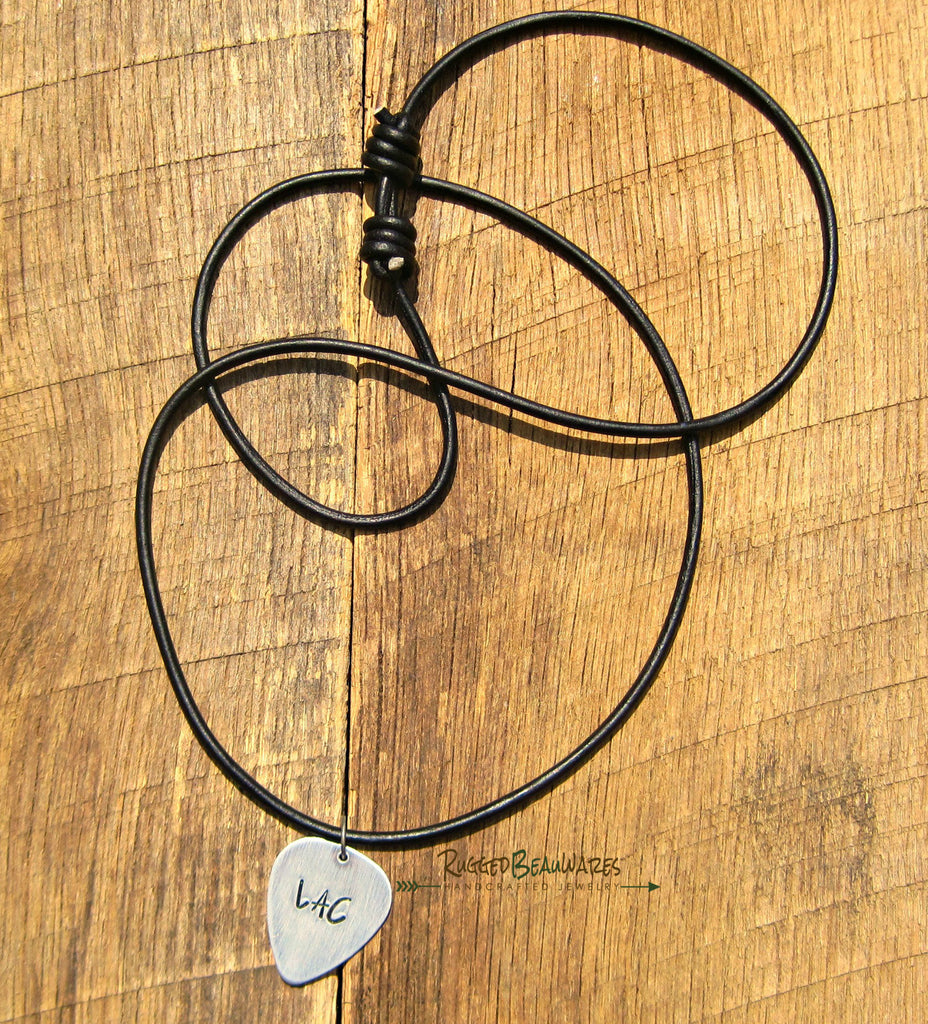 Mens Guitar Pick Black Leather Necklace Personalized with Initials