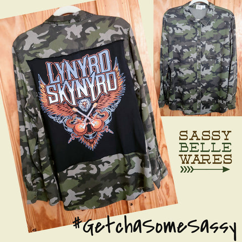 Camo Womens Long Sleeve Tee Patch Shirt - Lynyrd Skynyrd Eagle & Guitars - Womens Large