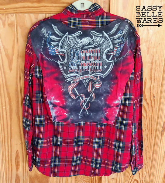 Red Plaid Repurposed Flannel Long Sleeve Tee Patch Shirt - Lynyrd Skynyrd