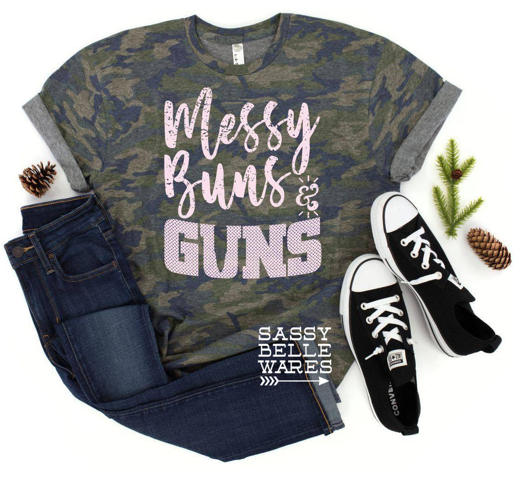 Messy Buns and Guns Camo Tee with White Letters