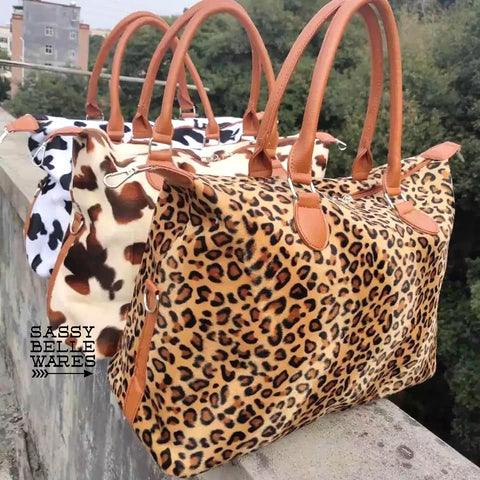 Mini Weekender Bag - Cow or Leopard Print