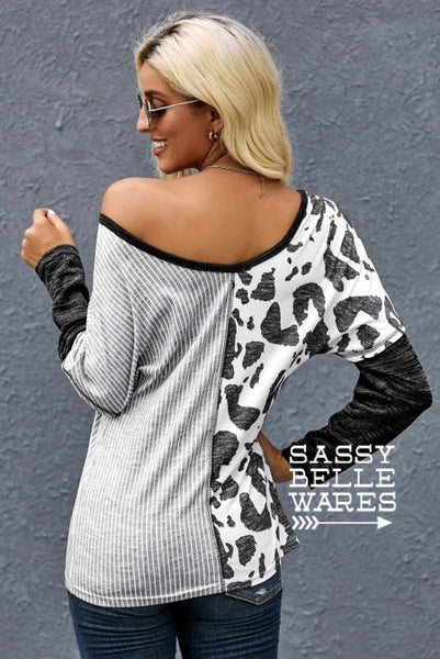 Mixed Pattern Long Sleeved Top - Medium and Large Only