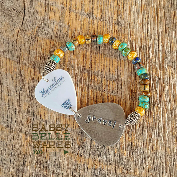 Your Guitar Pick Made Into a Bracelet with a Hand Stamped Guitar Pick