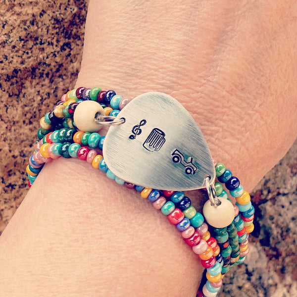 Music Beer and Jeeps Guitar Pick Bracelet Stack