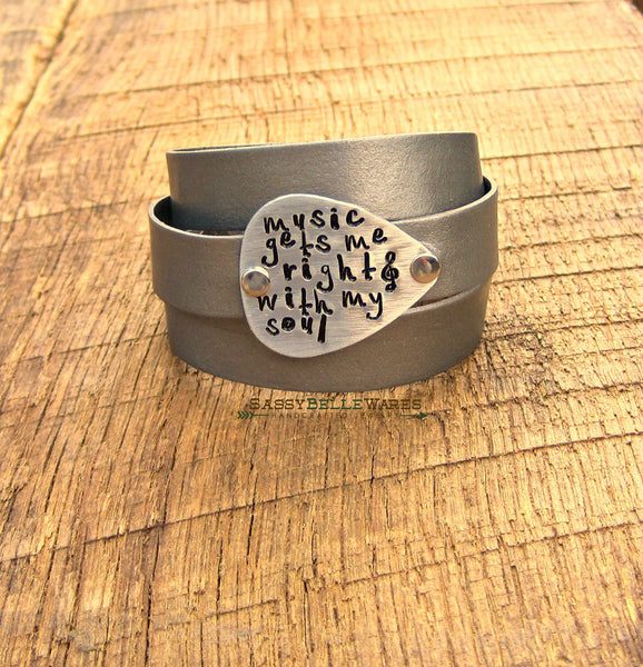 Music Gets Me Right With My Soul Guitar Pick Leather Wrap Bracelet