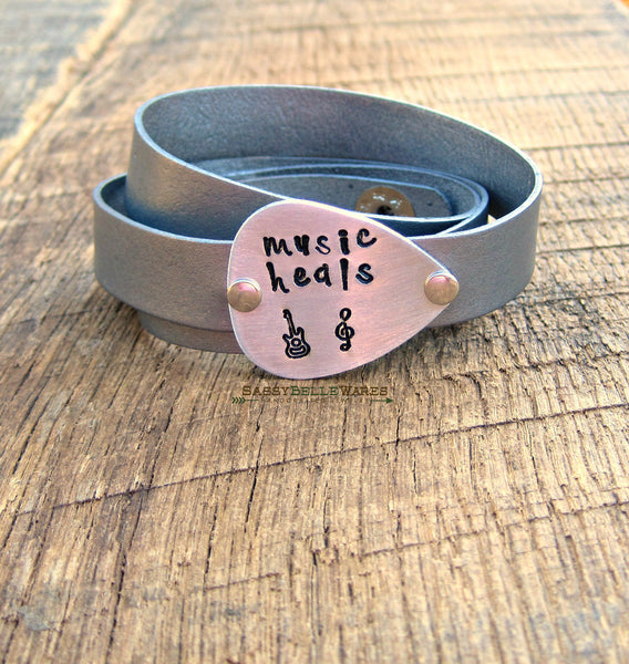 Music Heals Guitar Pick Leather Wrap Bracelet
