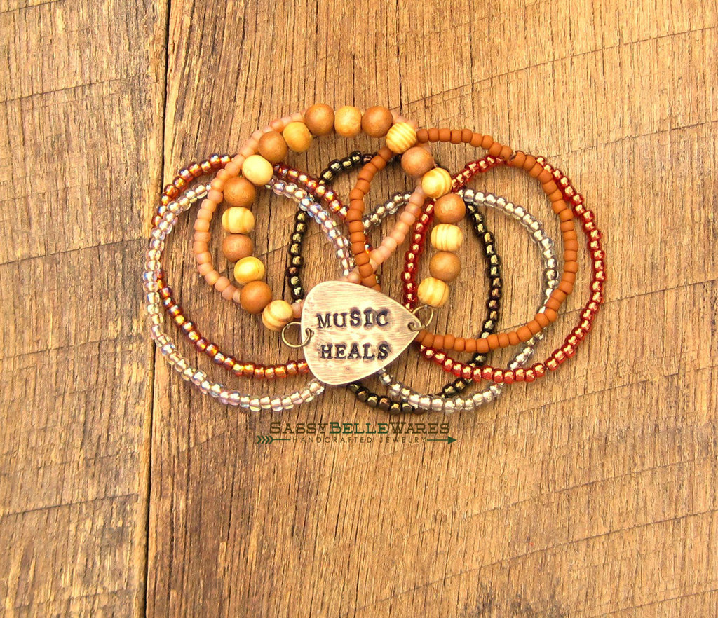 Music Heals Guitar Pick Bracelet Stack