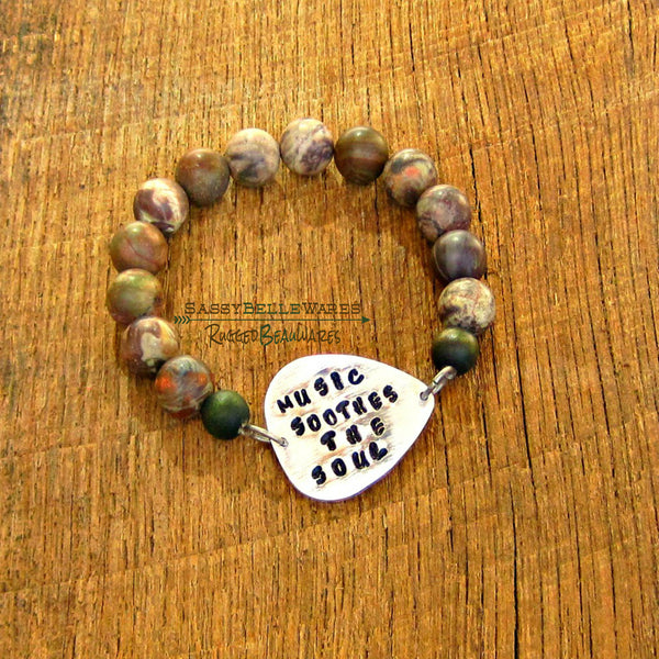 As Seen on Younger Music Soothes the Soul Guitar Pick Mens Bracelet