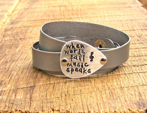 When Words Fail Music Speaks Guitar Pick Leather Wrap Bracelet