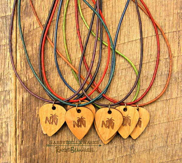 Nashville Navy Guitar Pick Leather Necklace