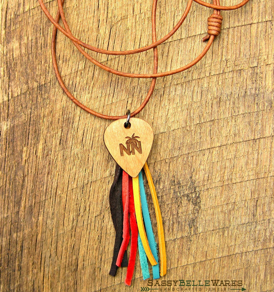 Nashville Navy Guitar Pick Tassel Leather Necklace