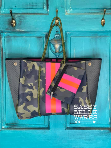 Neoprene Tote with Wristlet - Camo