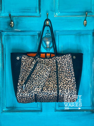 Neoprene Tote with Wristlet - Leopard - PRE ORDER